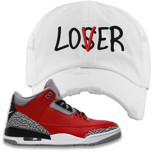 Jordan 3 Red Cement Distressed Dad Hat | White, Lover