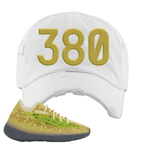 Yeezy Boost 380 Hylte Glow Distressed Dad Hat | 380, White