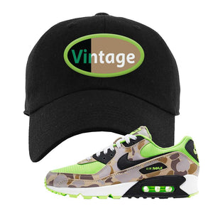 Air Max 90 Duck Camo Ghost Green Dad Hat | Black, Vintage Oval