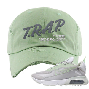 Air Max 2090 'Vast Gray' Distressed Dad Hat | Sage Green, Trap To Rise Above Poverty