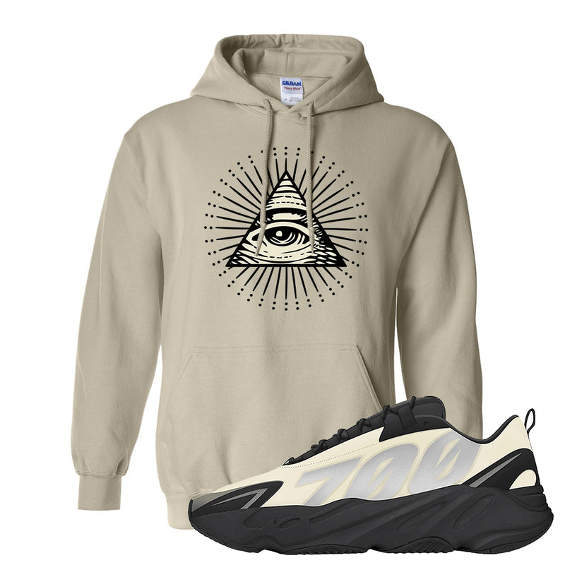 Yeezy Boost 700 MNVN Bone Hoodie | Sand, All Seeing Eye