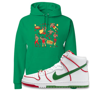 Paul Rodriguez's Nike SB Dunk High Sneaker Kelly Green Pullover Hoodie | Hoodie to match Paul Rodriguez's Nike SB Dunk High Shoes | Luchadors