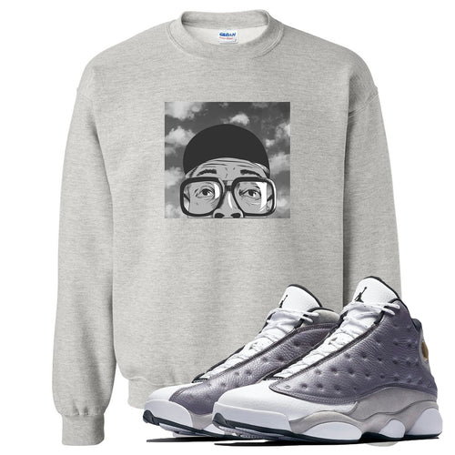Jordan 13 Atmosphere Grey Spike Hat and Glasses Light Gray Crewneck