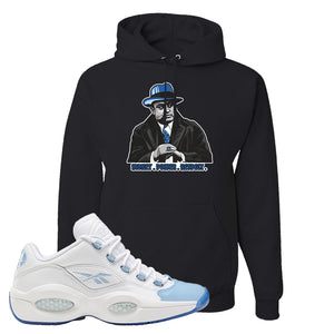 Question Low Carolina Blue Hoodie | Capone Illustration, Black