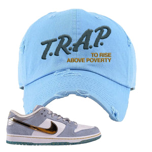 Sean Cliver x SB Dunk Low Distressed Dad Hat | Trap To Rise Above Poverty, Light Blue