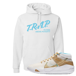 KD 13 EYBL Hoodie | Trap To Rise Above Poverty, White