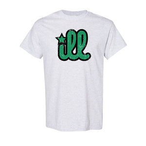 ILL Logo T-Shirt | ILL Logo Ash T-Shirt the front of this shirt has the green and black ill design