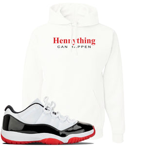 Jordan 11 Low White Black Red Sneaker White Pullover Hoodie | Hoodie to match Nike Air Jordan 11 Low White Black Red Shoes | HennyThing Is Possible