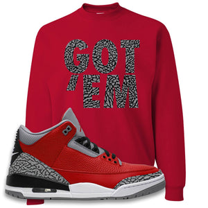 Jordan 3 Red Cement Crewneck Sweatshirt | True Red, Got Em