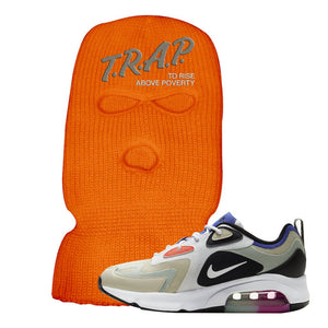 Air Max 200 WMNS Fossil Sneaker Safety Orange Ski Mask | Winter Mask to match Nike Air Max 200 WMNS Fossil Shoes | Trap To Rise Above Poverty