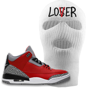 Jordan 3 Red Cement Ski Mask | White, Lover