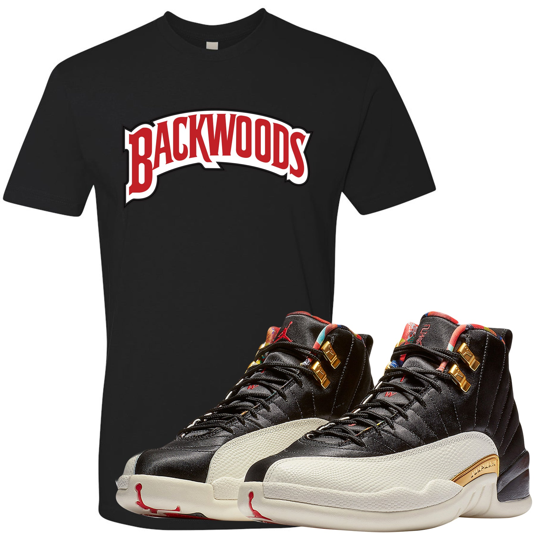 buy popular 124b0 b3ebf Jordan 12 Chinese New Year Sneaker Matching Backwoods Black T-Shirt