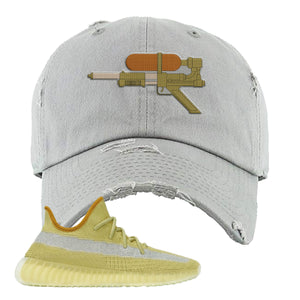 Yeezy Boost 350 V2 Marsh Water Soaker Light Gray Distressed Dad Hat To Match Sneakers