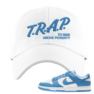 SB Dunk Low University Blue Dad Hat | Trap To Rise Above Poverty, White
