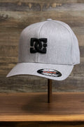 the Light Gray Bentbrim Skater Hat | DC Shoes Black Bottom Heather Gray Flexfit Cap has a bent brim and a flex fit