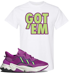 Ozweego Vivid Pink Sneaker White T Shirt | Tees to match Adidas Ozweego Vivid Pink Shoes | Got Em