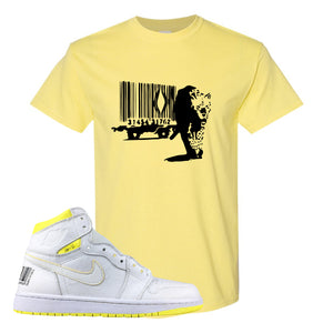 Air Jordan 1 First Class Flight Barcode Leopard Yellow Sneaker Matching T-Shirt