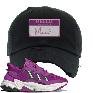 Ozweego Vivid Pink Sneaker Black Distressed Dad Hat | Hat to match Adidas Ozweego Vivid Pink Shoes | Hello my Name is Mami