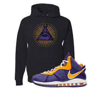Lebron 8 Lakers Hoodie | All Seeing Eye, Black