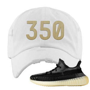 Yeezy Boost 350 v2 Carbon Distressed Dad Hat | 350, White