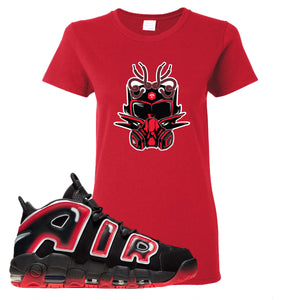 Air More Uptempo Laser Crimson Sneaker Future Mask Red Sneaker Hook Up Women's T-Shirt