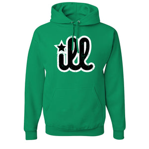 ILL Logo Pullover Hoodie | ILL Logo Kelly Green Pull Over Hoodie the front of this hoodie has the black and white ill design