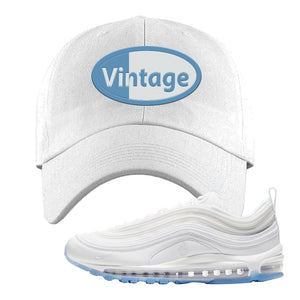 Air Max 97 White/Ice Blue/White Sneaker White Dad Hat | Hat to match Nike Air Max 97 White/Ice Blue/White Shoes | Vintage Oval