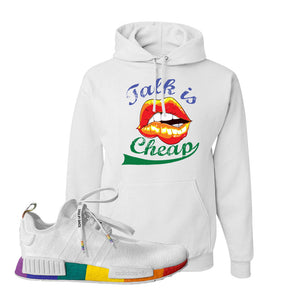 NMD R1 Pride Hoodie | White, Talk Is Cheap