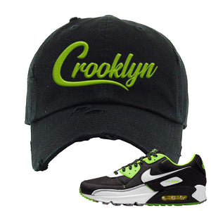 Air Max 90 Exeter Edition Black Distressed Dad Hat | Crooklyn, Black