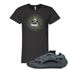 Yeezy Boost 700 V3 Alvah Sneaker Black Women's T Shirt | Women's Tees match Adidas Yeezy Boost 700 V3 Alvah Shoes | All Seeing Eye