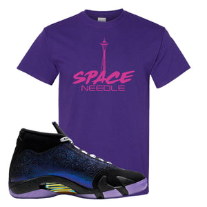 Jordan 14 Doernbecher Space Needle Purple Sneaker Hook Up T-Shirt
