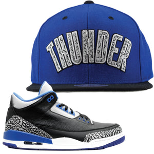 Jordan 3 Sport Blue Sneaker Hook Up Oklahoma City Thunder Strapback Hat