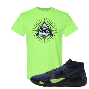 KD 13 Planet of Hoops T Shirt | All Seeing Eye, Neon Green