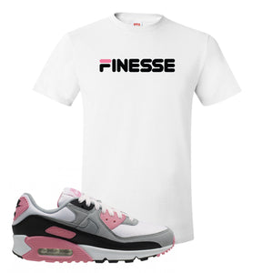 WMNS Air Max 90 Rose Pink Finesse White T-Shirt To Match Sneakers