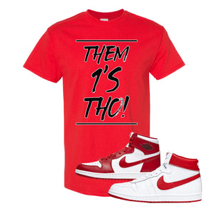Jordan 1 New Beginnings Pack Sneaker Red T Shirt | Tees to match Nike Air Jordan 1 New Beginnings Pack Shoes | Them 1's Tho