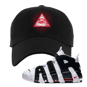Air More Uptempo White Black Red Dad Hat | Black, All Seeing Eye