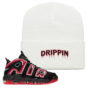 Air More Uptempo Laser Crimson Beanie | White, Drippin