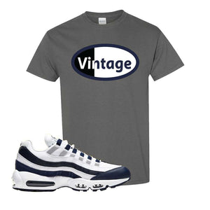 Air Max 95 Essential White / Midnight Navy T Shirt | Charcoal, Vintage Oval