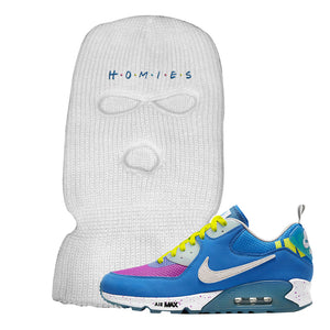 Undefeated x Air Max 90 Pacific Blue Sneaker White Ski Mask | Winter Mask to match Undefeated x Nike Air Max 90 Pacific Blue Shoes | Homies