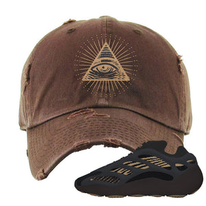 Yeezy 700 v3 Eremial Distressed Dad Hat | All Seeing Eye, Brown