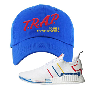 NMD R1 Olympic Pack Dad Hat | Royal Blue, Trap To Rise Above Poverty