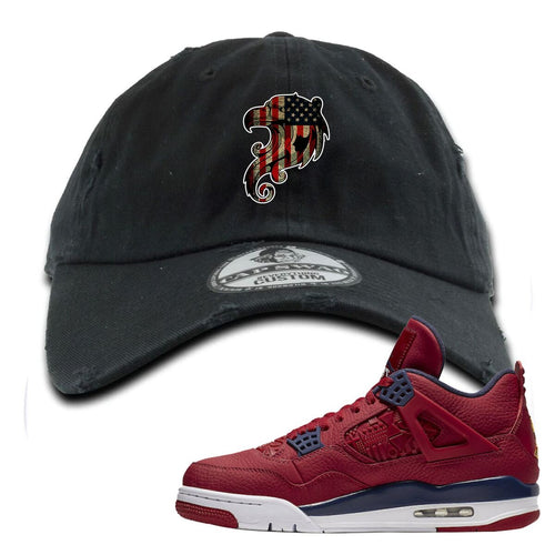 Air Jordan 4 FIBA Stars and Stripes Eagle Black Sneaker Matching Distressed Dad Hat