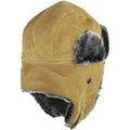 the exterior of the khaki corduroy vegan fur trapper hat has a 100% polyester interior and a 100% cotton exterior