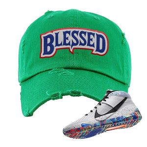 KD 13 Home Distressed Dad Hat | Kelly Green, Blessed Arch