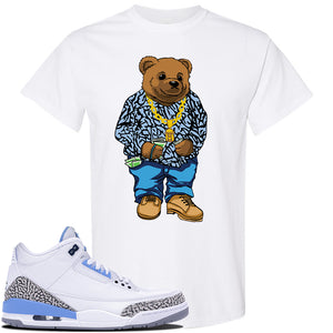 Jordan 3 UNC Sneaker White T Shirt | Tees to match Nike Air Jordan 3 UNC Shoes | Sweater Bear