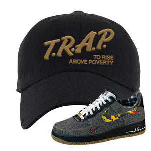 Air Force 1 Low Plaid And Camo Remix Pack Dad Hat | Trap To Rise Above Poverty, Black