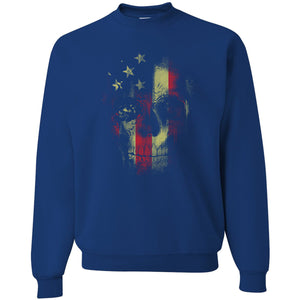 Standard Issue Distressed Reaper Skull American Flag Royal Blue Grunt Life Crewneck Sweater