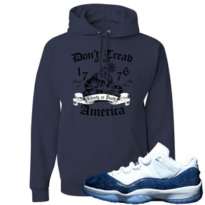 Jordan 11 Low Blue Snakeskin Don't Tread On Me Snake Navy Hoodie