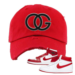 Jordan 1 New Beginnings Pack Sneaker Red Distressed Dad Hat | Hat to match Nike Air Jordan 1 New Beginnings Pack Shoes | OG