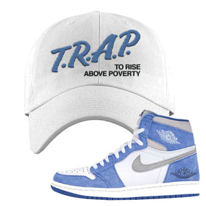 Air Jordan 1 High Hyper Royal Dad Hat | Trap To Rise Above Poverty, White
